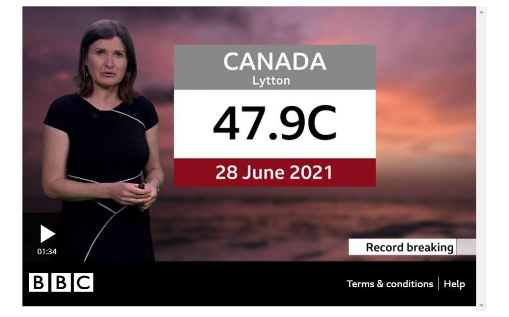 BBC news caster talking about Lytton Canada breaking the 28-June-2021 temperature record at 47.9C